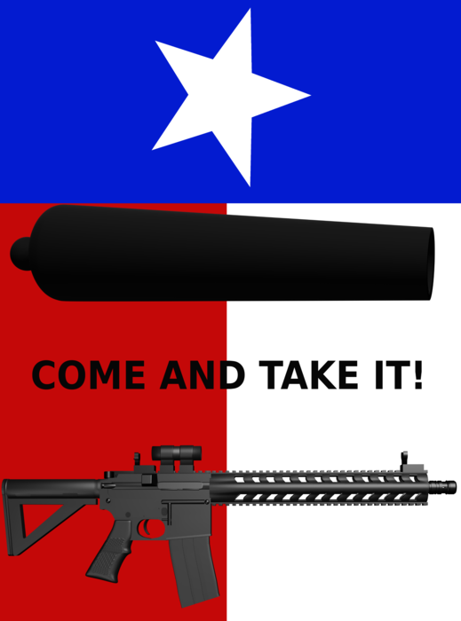 The spirit of a Texan image on front with text on back version